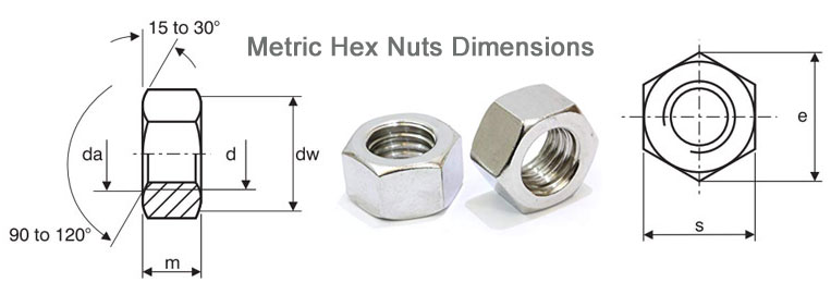 Dimensions of Metric Monel Hex Nuts (ISO 4032)
